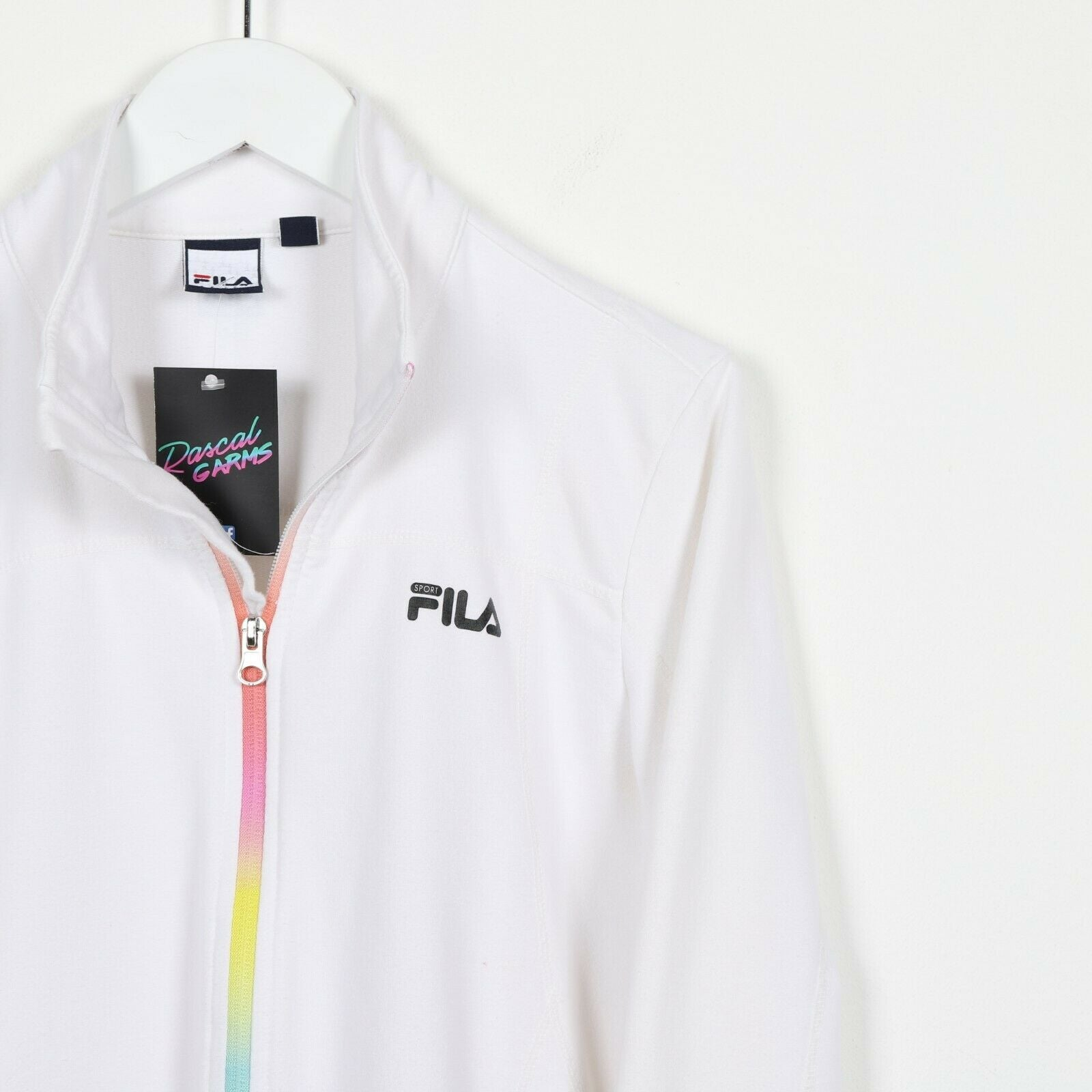 Vintage Women's FILA Small Logo Zip Up Sweatshirt Jumper White Medium M