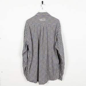 Vintage LEVI'S Long Sleeve Button Up Check Shirt Navy Blue Beige XL