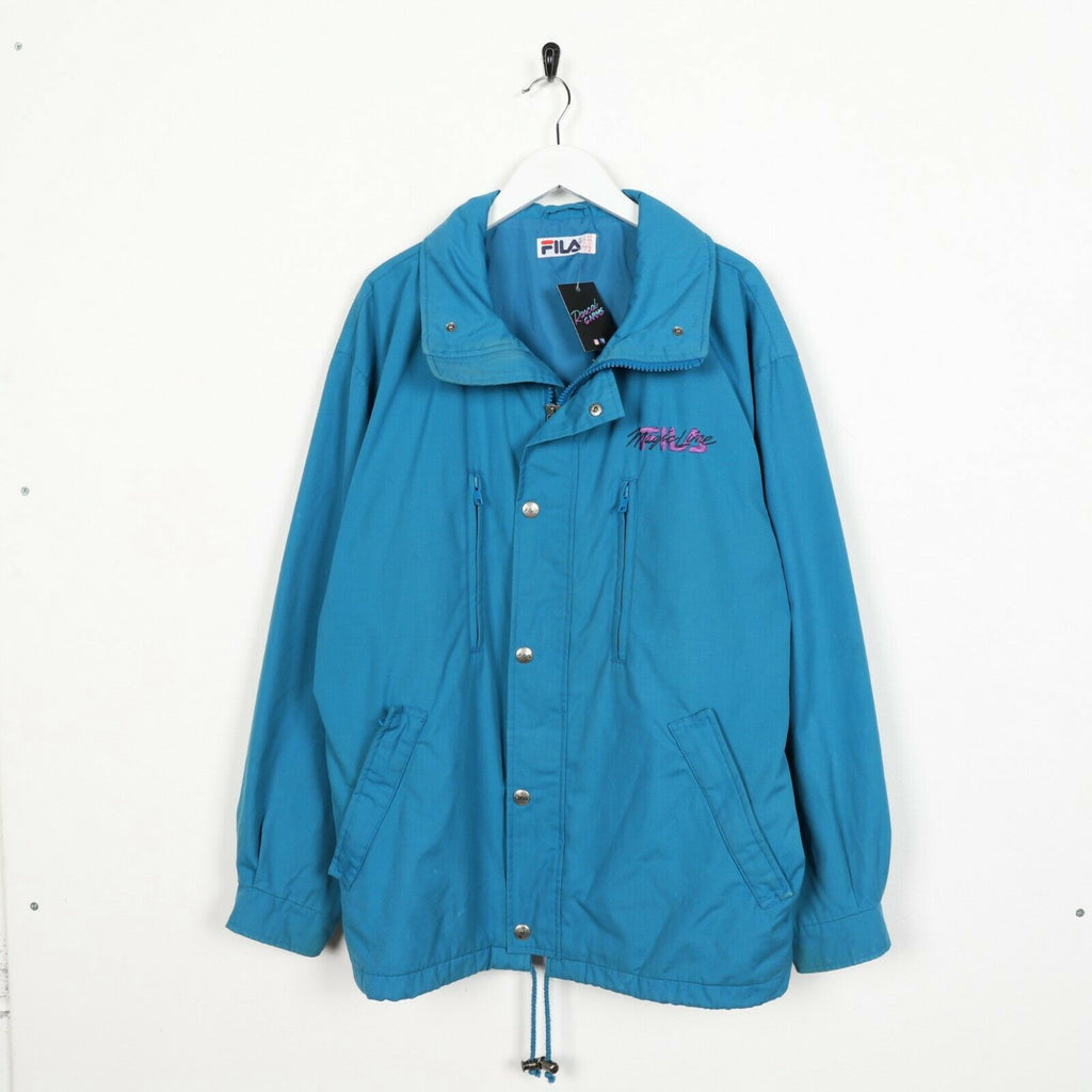 Vintage 90s FILA Magic Line Small Logo Zip Up Coat Jacket Blue | Large L