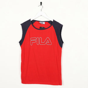 Vintage 90s FILA Spell Out Logo Sleeveless Vest T Shirt Tee Red | Large L