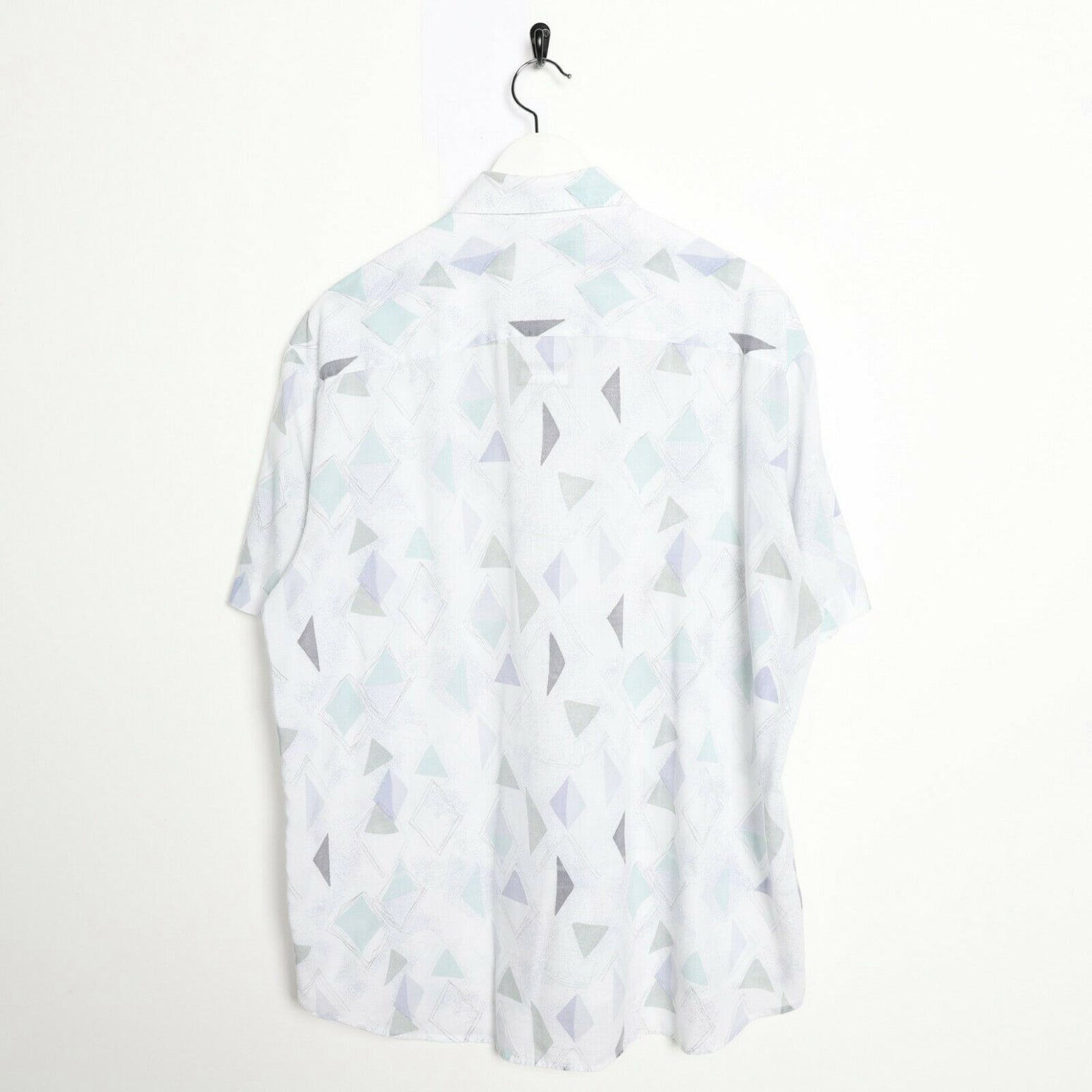 Vintage 90s ABSTRACT Short Sleeve Festival Party Shirt White Large L