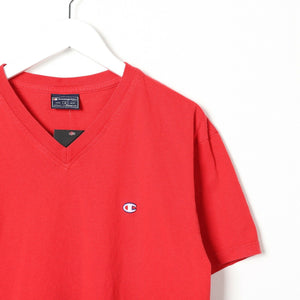 Vintage CHAMPION Small Logo T Shirt Tee Red Medium M
