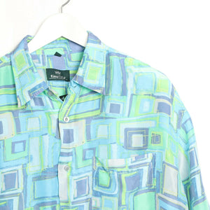 Vintage 90s ABSTRACT Short Sleeve Festival Party Shirt | Large L