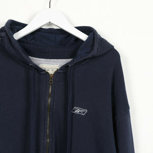 Vintage REEBOK Small Logo Zip Up Hoodie Sweatshirt Navy Blue | 2XL