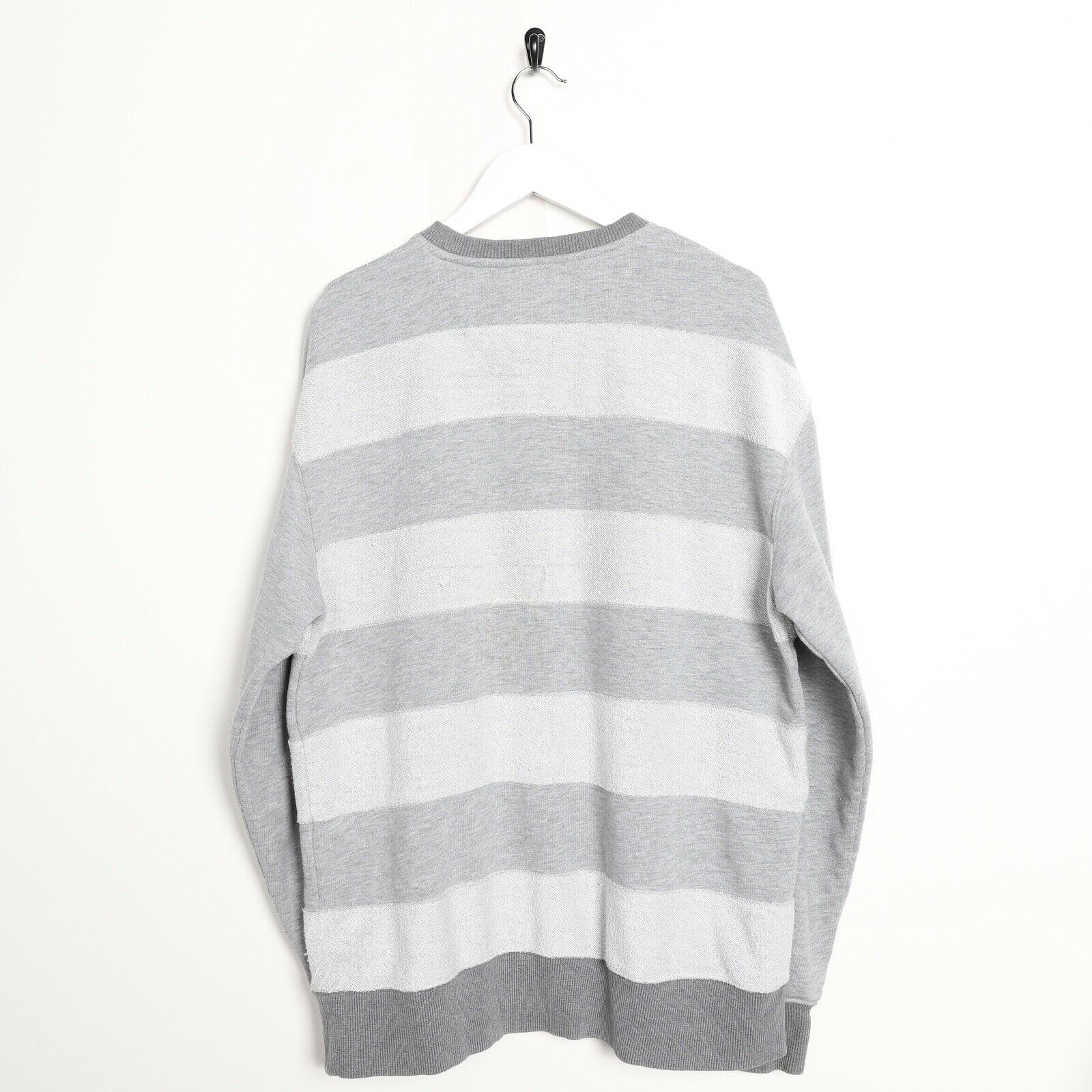 Vintage REEBOK Small Logo Striped Sweatshirt Jumper Grey | Medium M