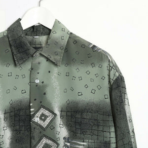 Vintage 90s ABSTRACT Short Sleeve Festival Party Shirt Green | XL