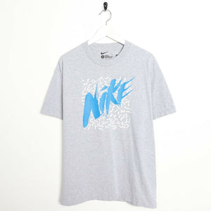 Vintage NIKE Big Graphic Logo T Shirt Tee Grey Large L