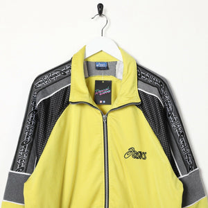 Vintage 90's ASICS Tape Arm Small Logo Track Top Jacket Yellow Large L