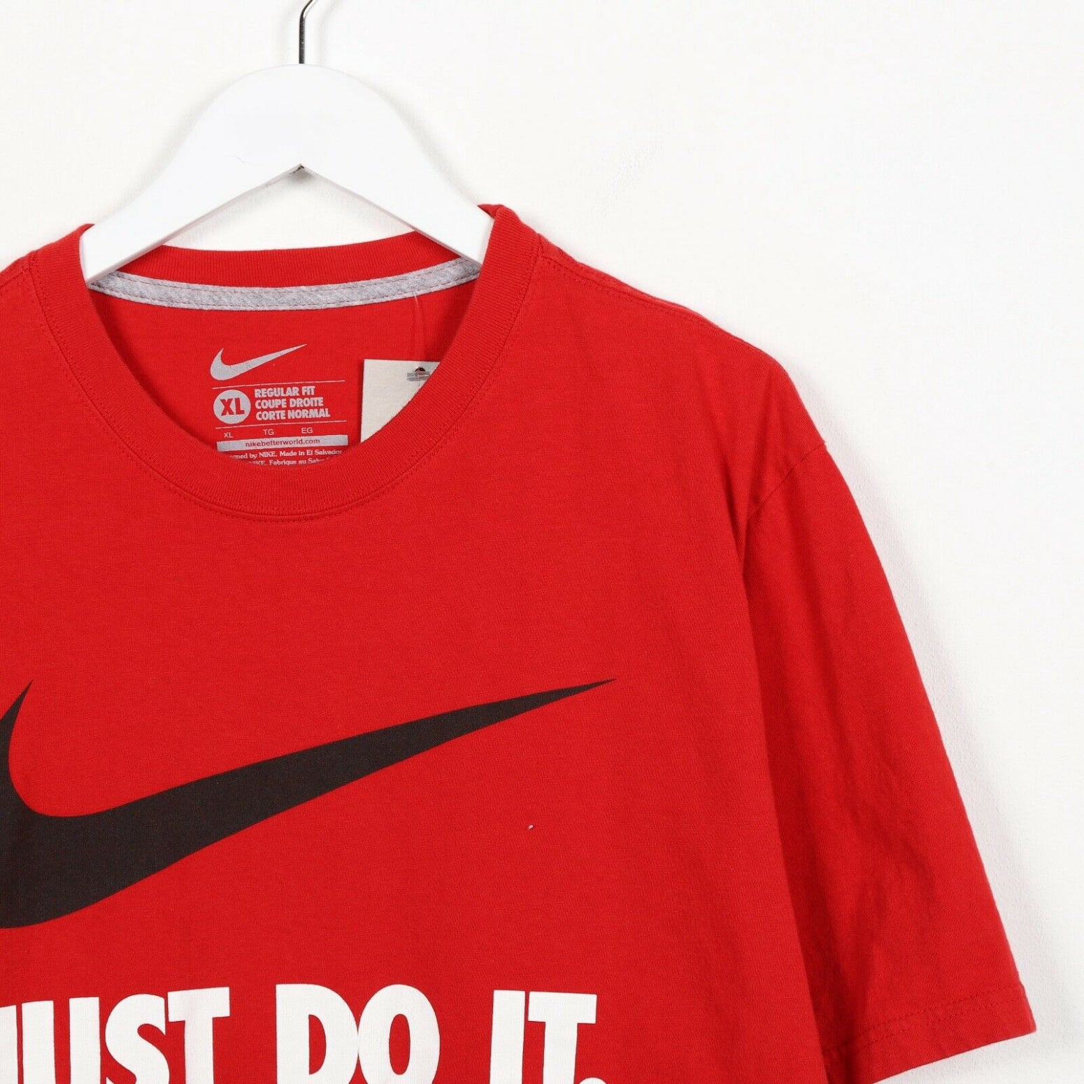 Vintage NIKE Big Swoosh Spell Out T Shirt Tee Red XL