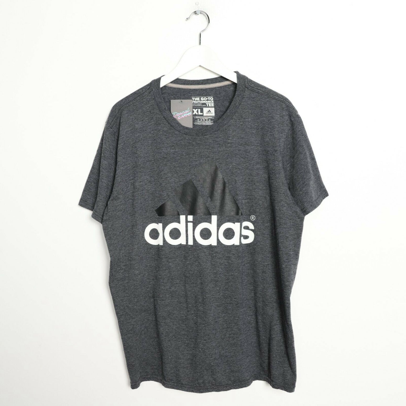 Vintage ADIDAS Big Logo T Shirt Tee Dark Grey XL