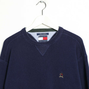 Vintage TOMMY HILFIGER Small Crest Logo Knitted Sweatshirt Jumper Blue | Large L