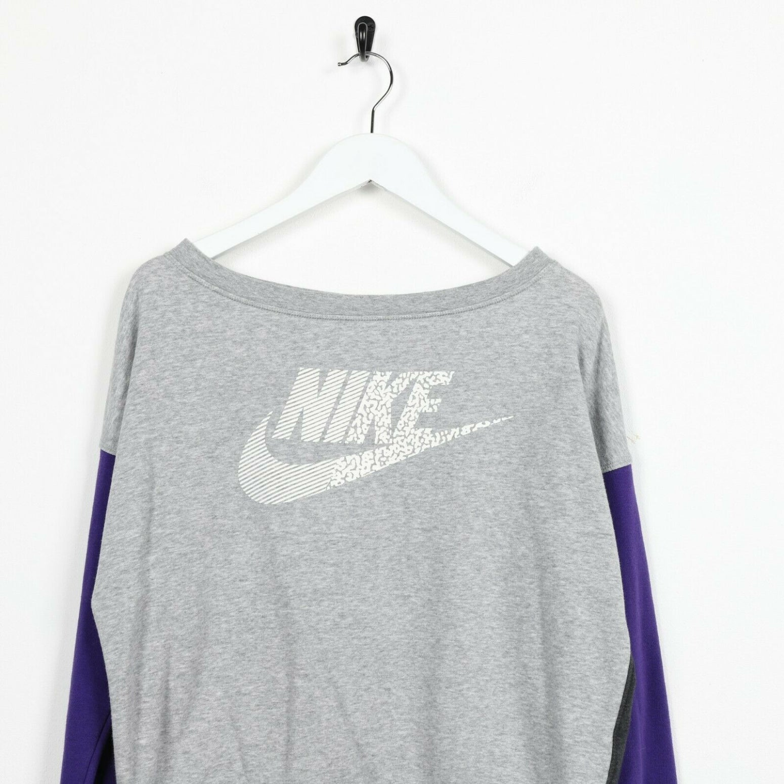 Vintage Women's NIKE Central Spell Out Sweatshirt Jumper Grey Purple | Small S