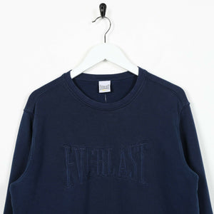 Vintage EVERLAST Spell Out Sweatshirt Jumper Navy Blue | Small S