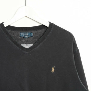Vintage RALPH LAUREN Small Logo Sweatshirt Jumper Faded Black XL