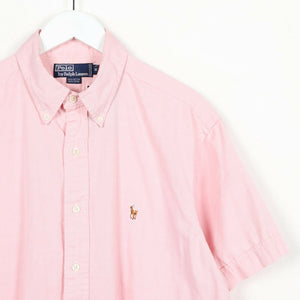 "Vintage RALPH LAUREN Small Logo Short Sleeve Shirt Pink | 16.5"" Large L"