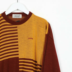 Vintage LEVI'S Knitted Sweatshirt Jumper Brown Yellow Medium M