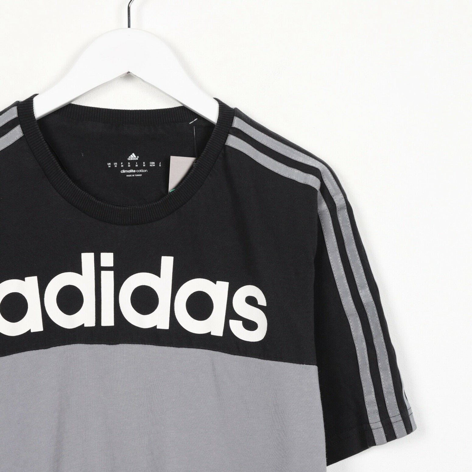 Vintage ADIDAS Spell Out Logo T Shirt Tee Grey | Medium M