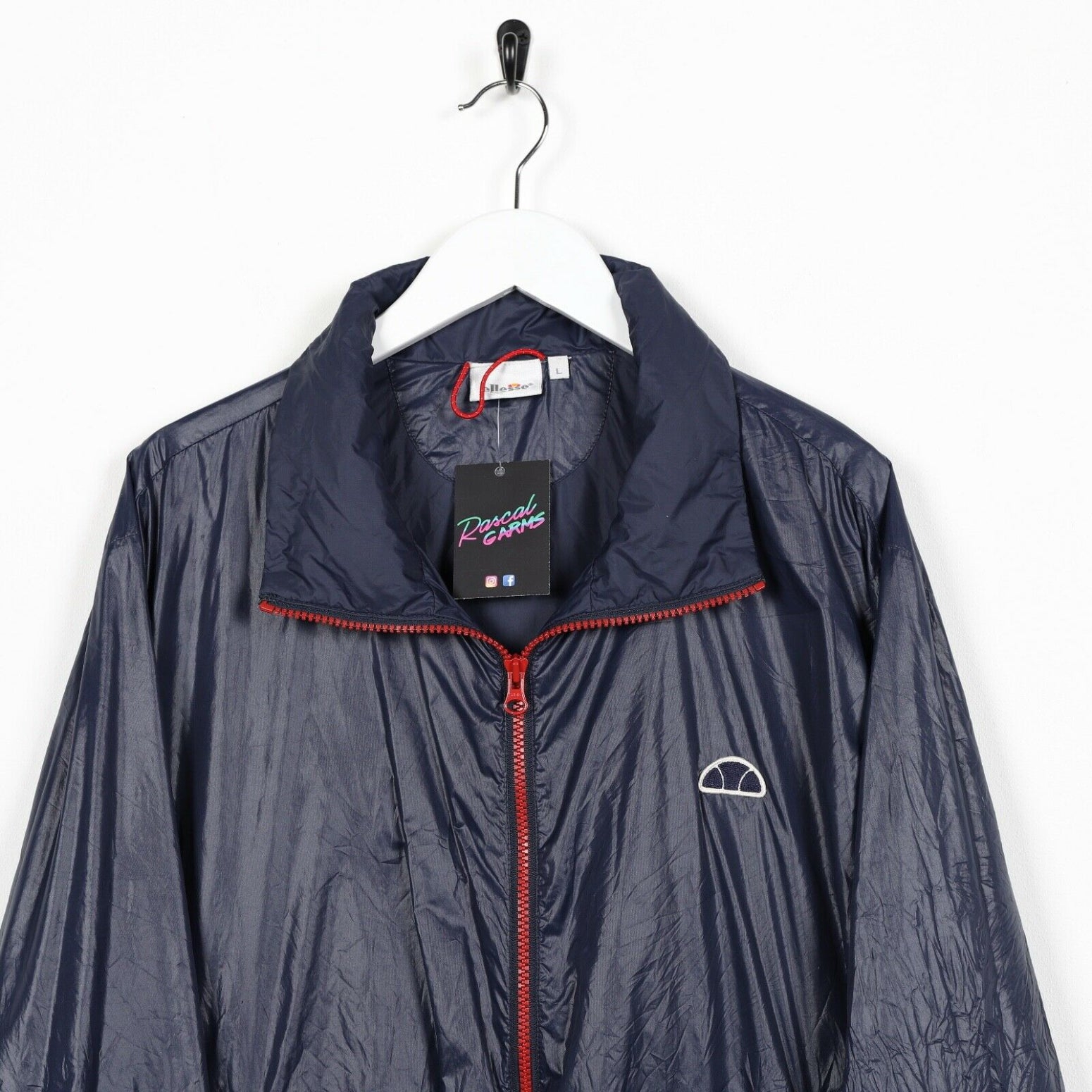 Vintage ELLESSE Soft Shell Windbreaker Festival Jacket Navy Blue | Large L