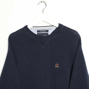 Vintage TOMMY HILFIGER Crest Logo Knitted Sweatshirt Jumper Navy Blue | Large L