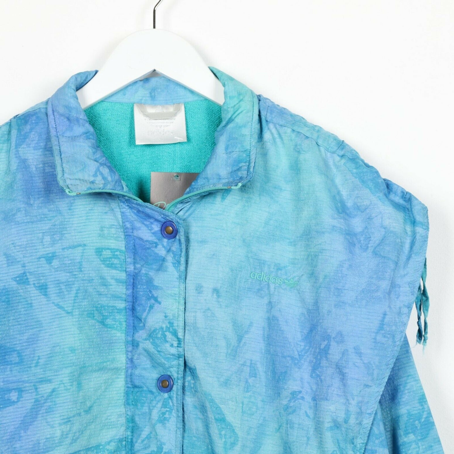 Vintage 80s ADIDAS Abstract Soft Shell Windbreaker Jacket Blue Medium M