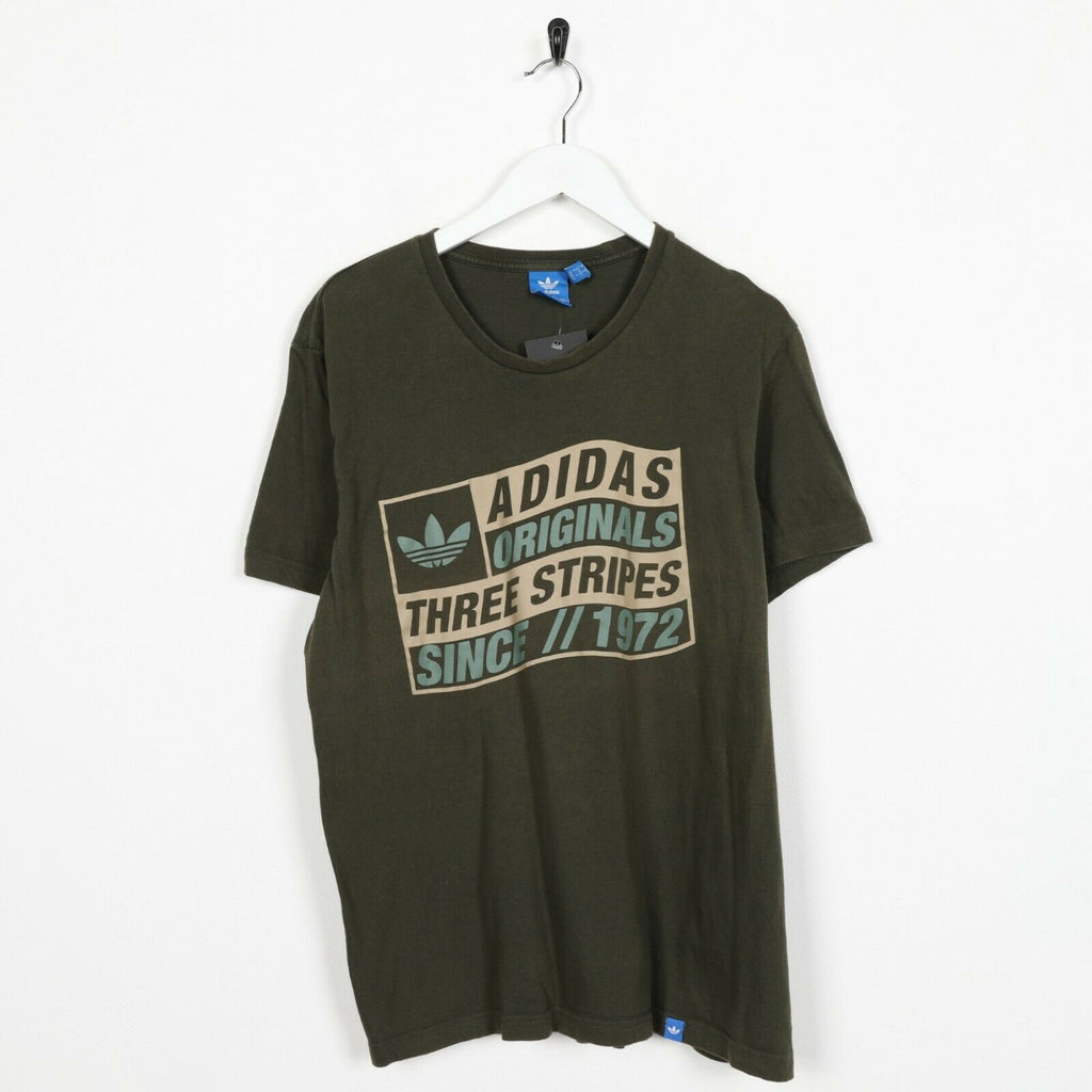 Vintage ADIDAS ORIGINALS Graphic Spell Out T Shirt Tee Green | Large L