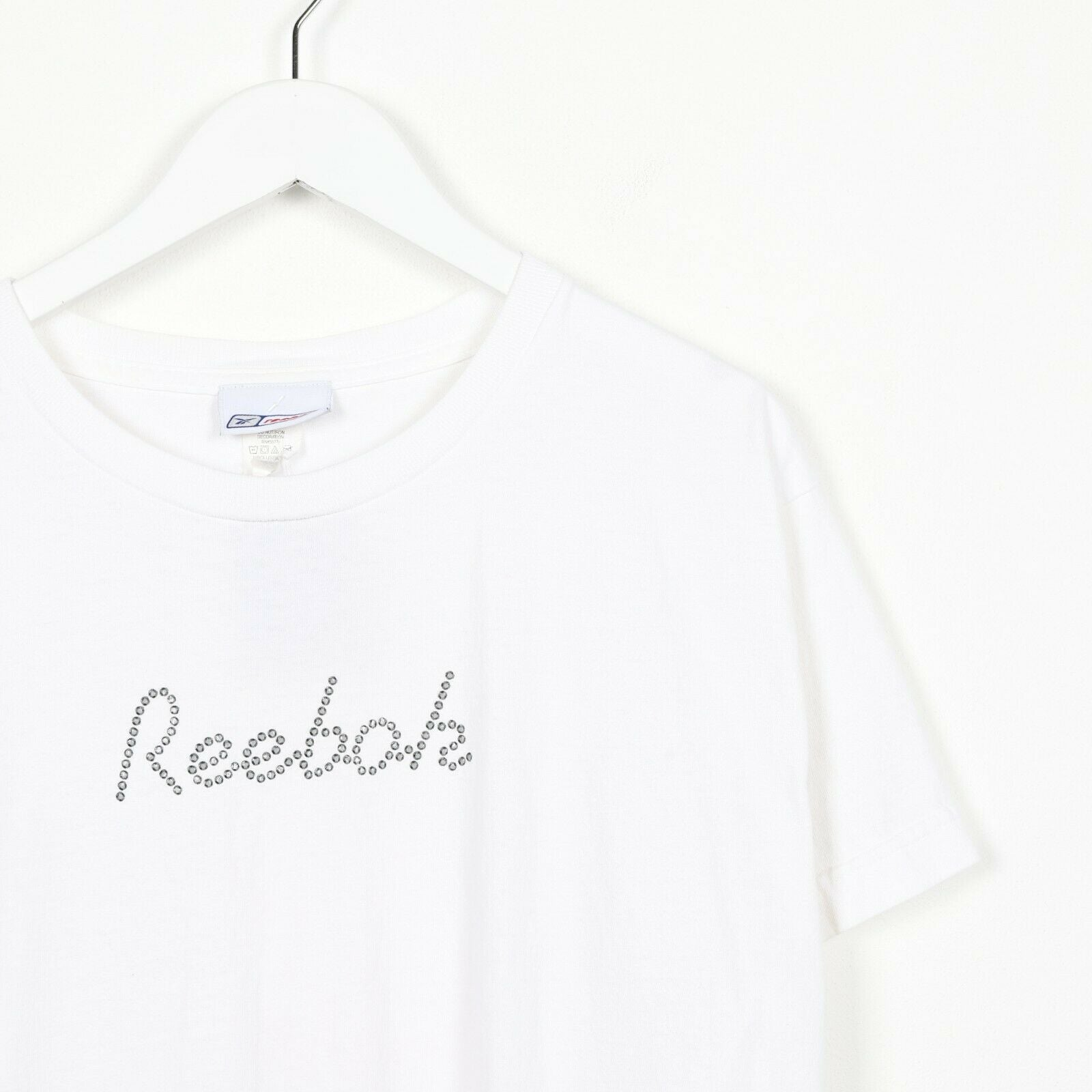 Vintage Women's REEBOK Spell Out Logo T Shirt Tee White | Medium M