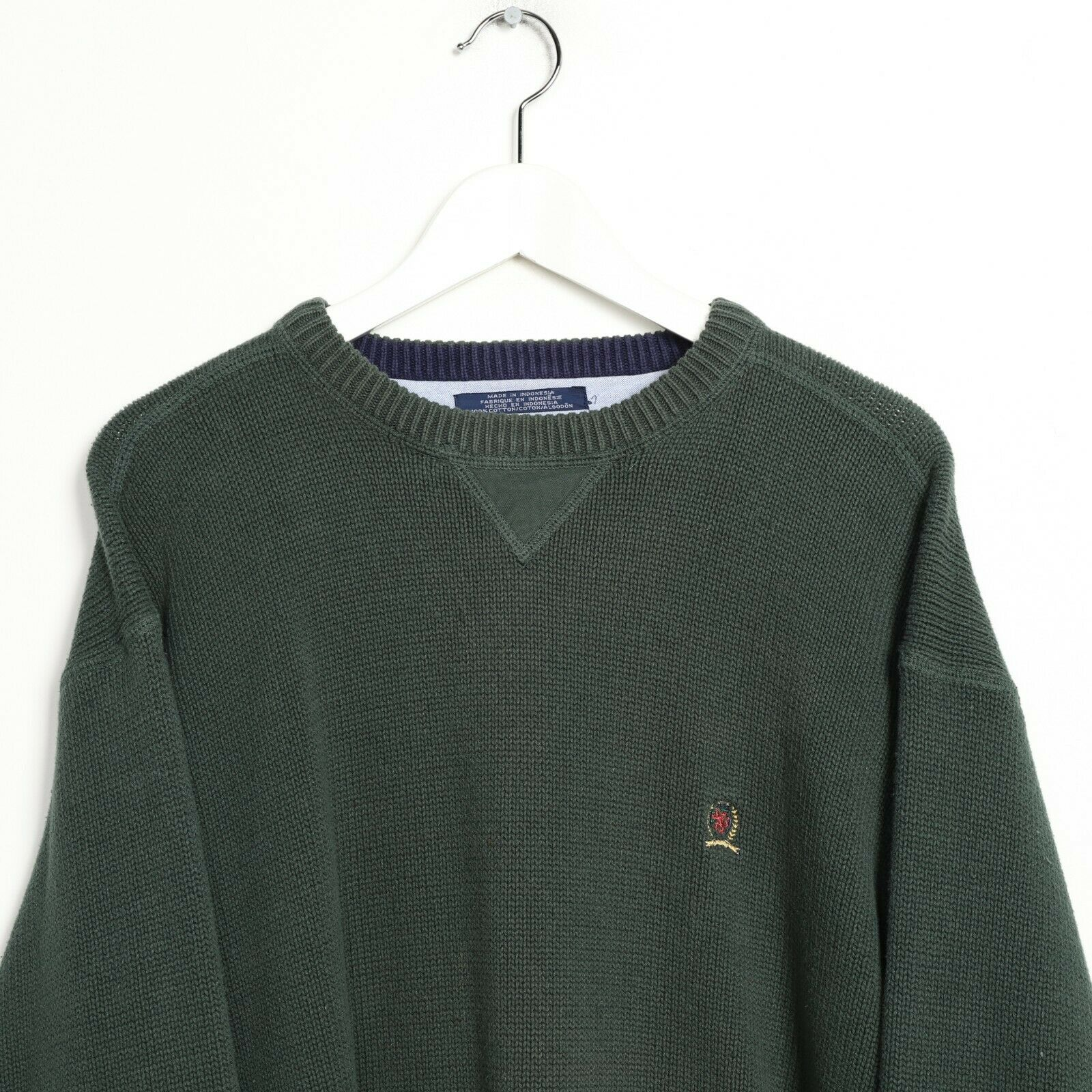 Vintage TOMMY HILFIGER Small Logo Knitted Sweatshirt Jumper Green | Large L