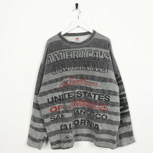Vintage LEVI'S Big Graphic Logo Striped Sweatshirt Jumper Grey XL