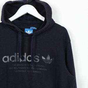 Vintage ADIDAS ORIGINALS Big Spell Out Logo Hoodie Sweatshirt Blue | Medium M