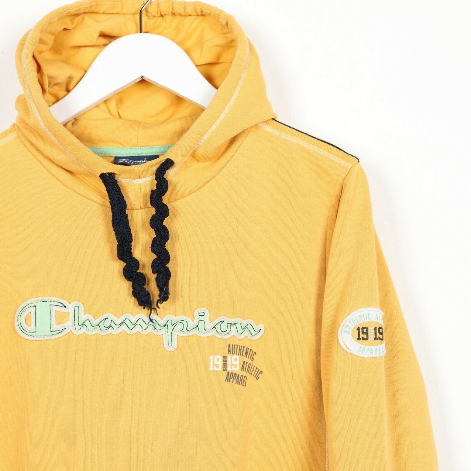 Vintage Women's CHAMPION Central Spell Out Hoodie Sweatshirt Yellow Small s