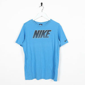 Vintage NIKE Big Central Spell Out Logo T Shirt Tee Blue Small S