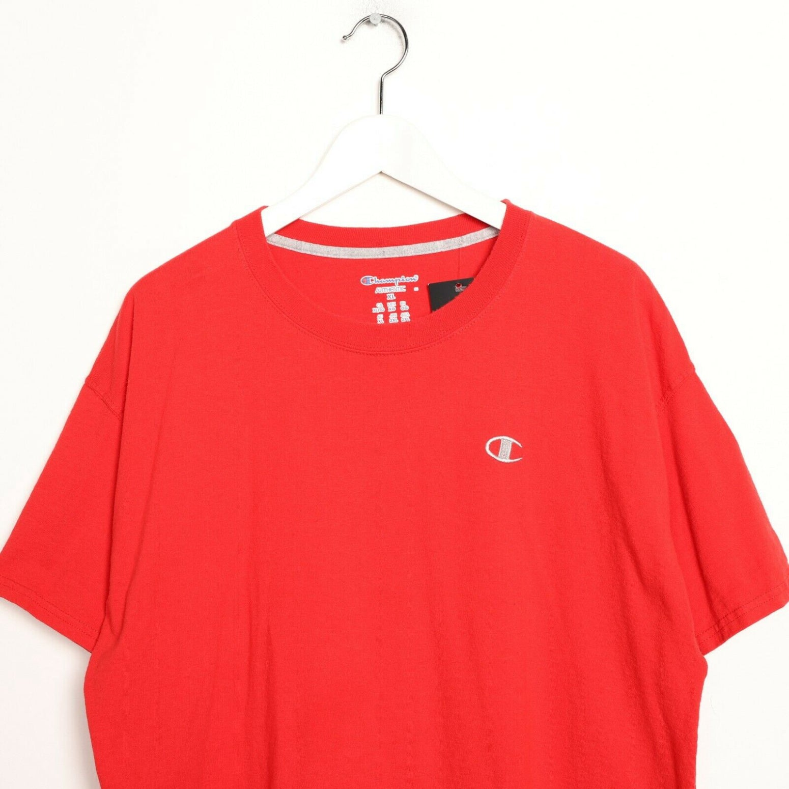 Vintage CHAMPION Small Logo T Shirt Tee Red XL