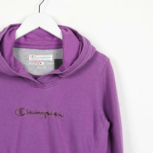 Vintage Women's CHAMPION Spell Out Logo Hoodie Sweatshirt Purple | Small S