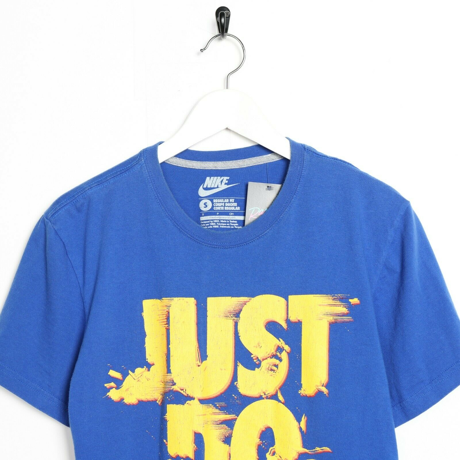 Vintage NIKE Just Do It Big Logo T Shirt Tee Blue | Small S