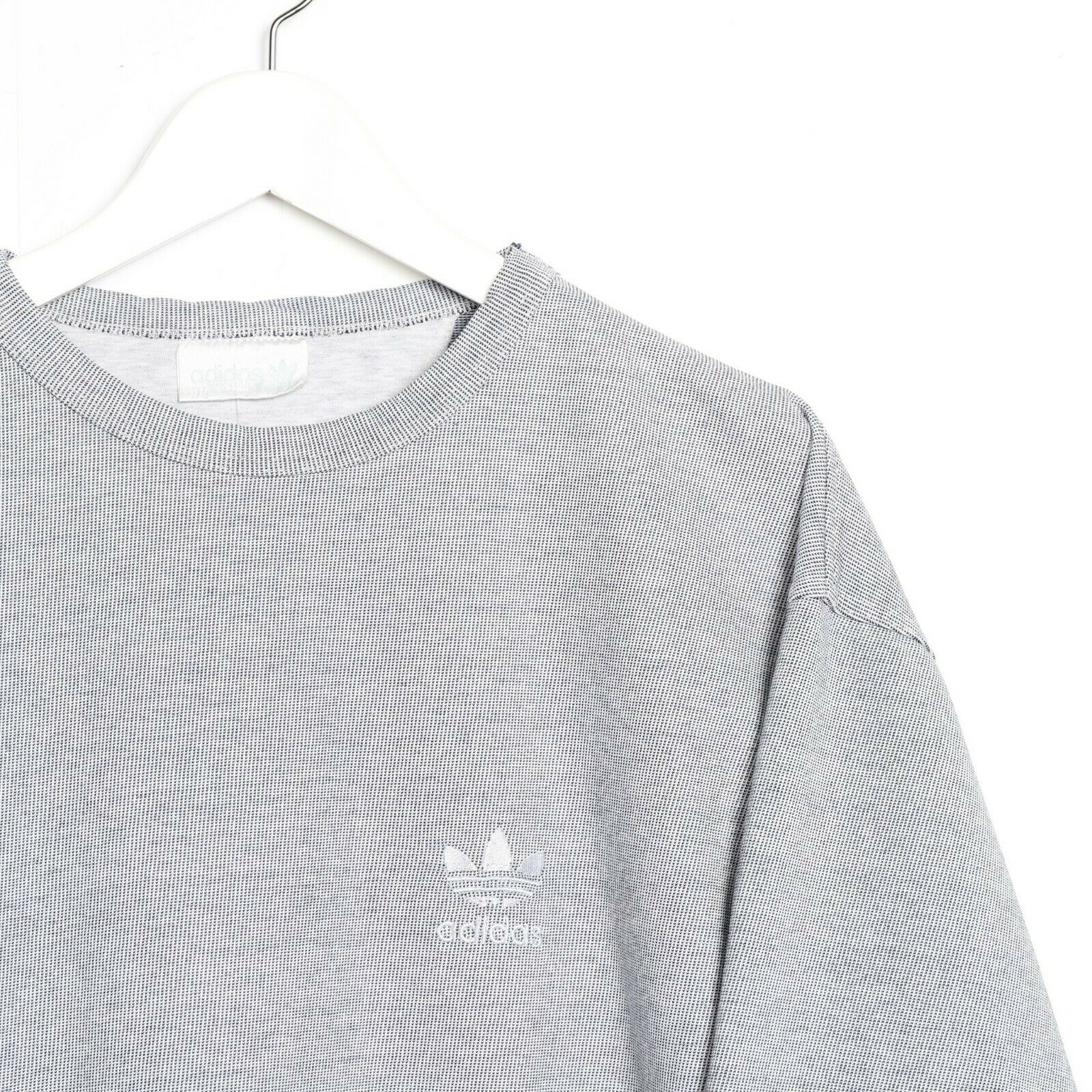 Vintage 80s ADIDAS Small Logo Sweatshirt Jumper Grey Medium M