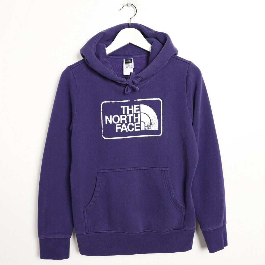 Vintage Women's THE NORTH FACE Big Logo Hoodie Sweatshirt Purple Medium M