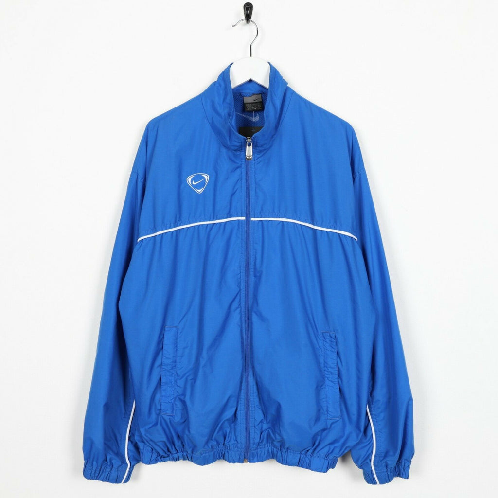 Vintage NIKE Back Logo Soft Shell Windbreaker Jacket Blue | Medium M