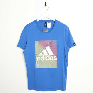 Vintage ADIDAS Graphic Big Logo T Shirt Tee Blue Large L