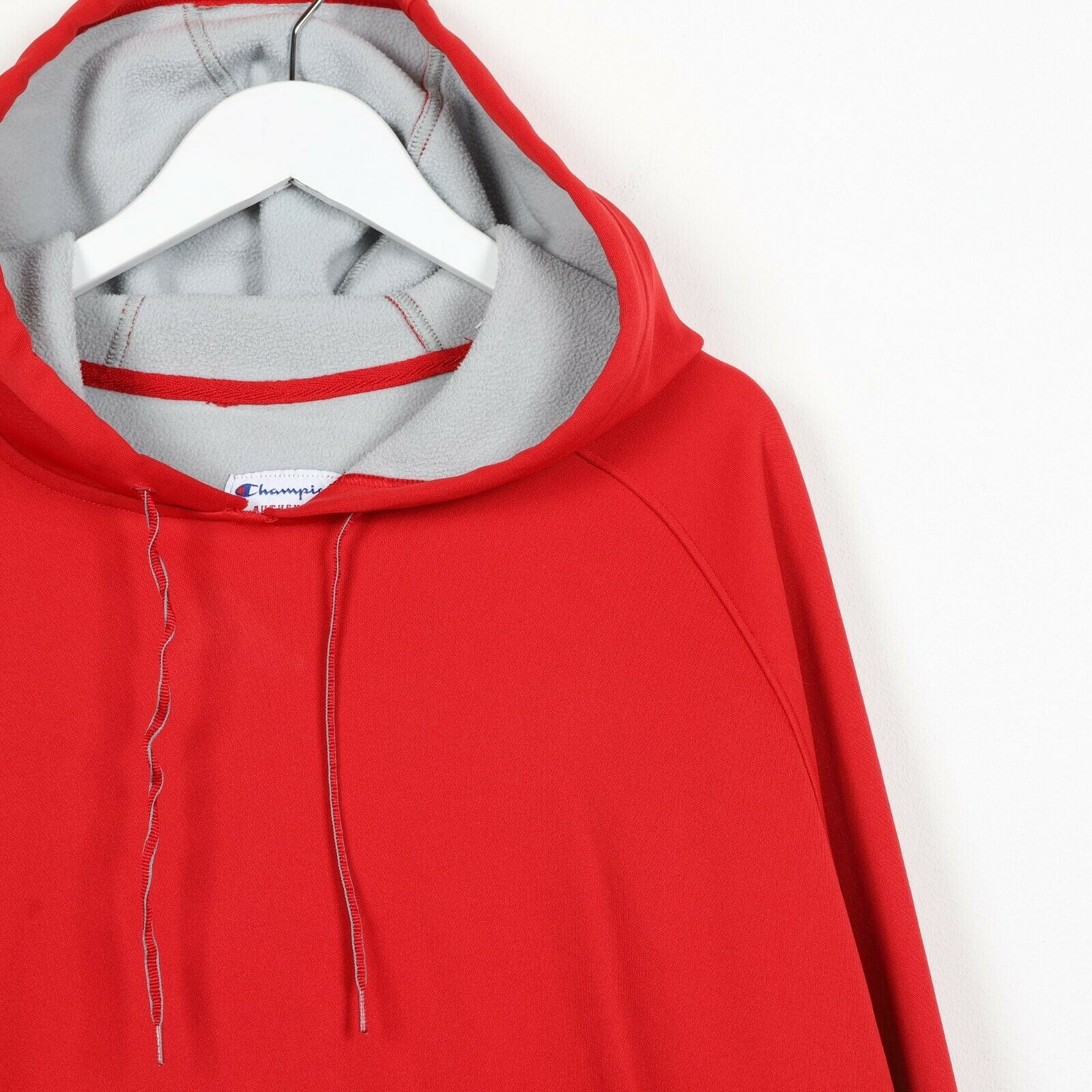 Vintage CHAMPION Sleeve Logo Polyester Hoodie Sweatshirt Red | XL