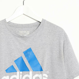 Vintage ADIDAS Big Graphic Logo T Shirt Tee Grey Large L