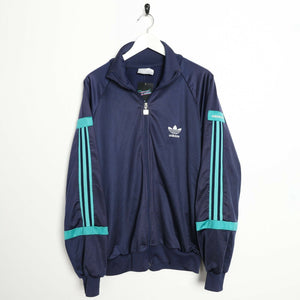 Vintage 80's ADIDAS Small Logo Tracksuit Top Jacket Navy Blue Extra Large XL