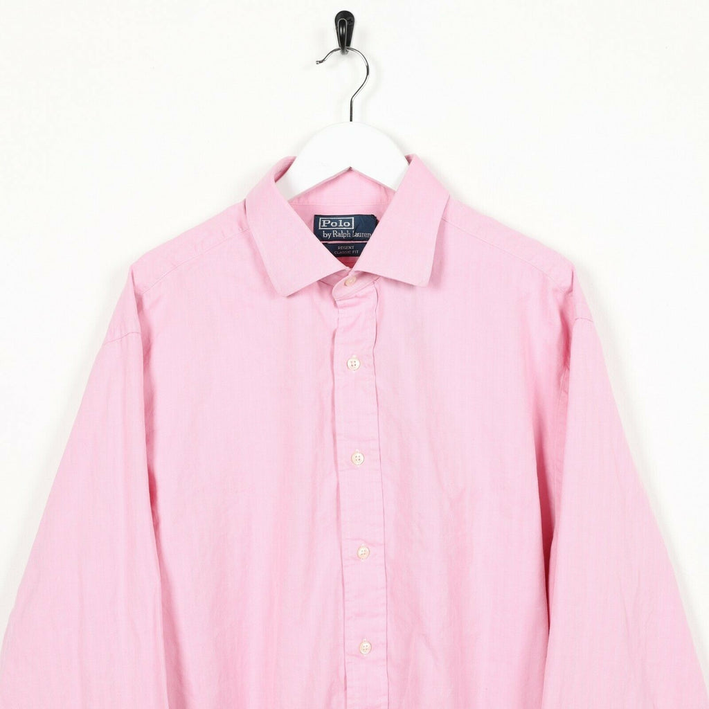 Vintage RALPH LAUREN Small Logo Long Sleeve Shirt Pink | 17 1/2 | XL
