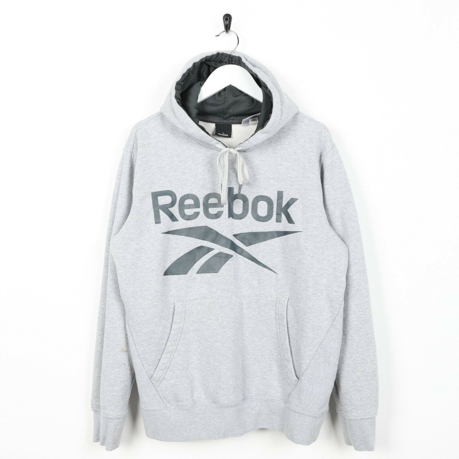Vintage REEBOK Big Logo Hoodie Sweatshirt Grey Small S
