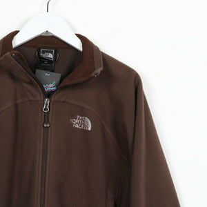 Vintage Women's THE NORTH FACE Small Logo Full Zip Fleece Top Brown | Small S