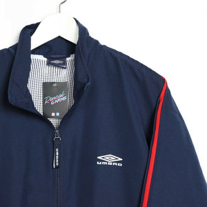 Vintage UMBRO Soft Shell Windbreaker Jacket Navy Blue Large L
