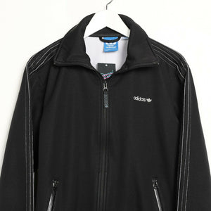 Vintage ADIDAS ORIGINALS Small Logo Fleece Lined Track Top Jacket Black Medium