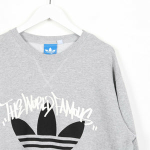 Vintage ADIDAS ORIGINALS Graphic Trefoil Logo Sweatshirt Jumper Grey Large L