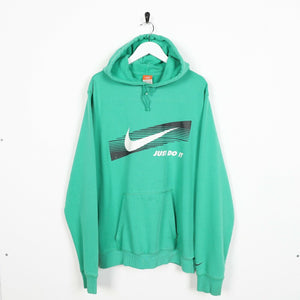Vintage NIKE Big Graphic Logo Hoodie Sweatshirt Green | 2XL