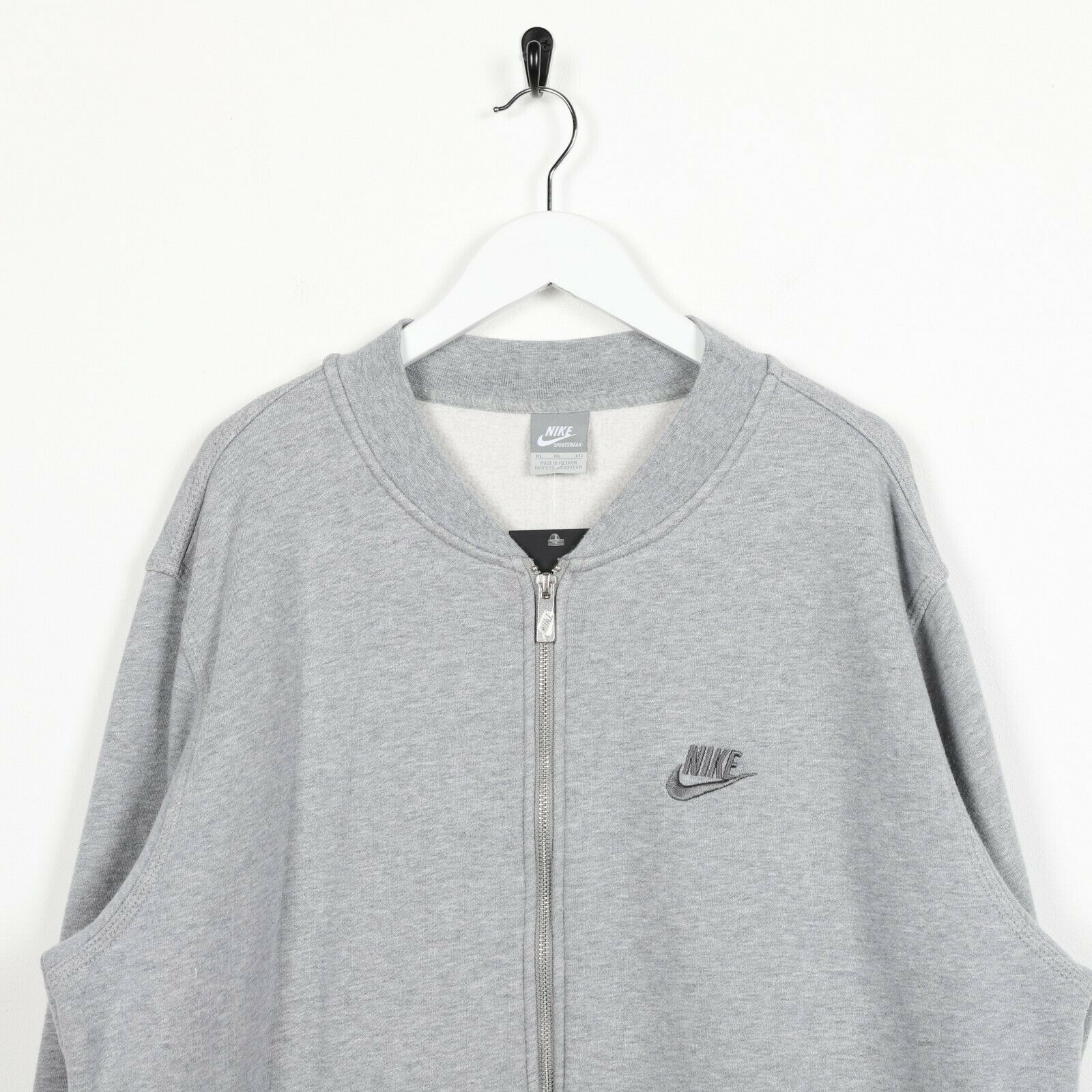 Vintage NIKE Small Logo Zip Up Sweatshirt Jumper Grey | XL