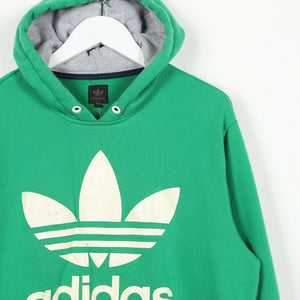 Vintage ADIDAS ORIGINALS Big Trefoil Logo Hoodie Sweatshirt Green | Medium M